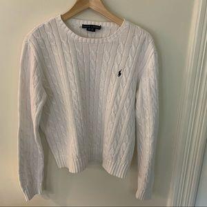Ralph Lauren // White Crew Cableknit Sweater XL